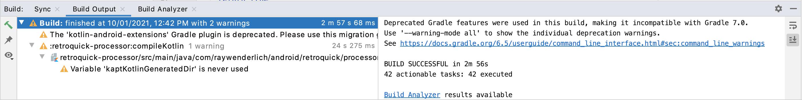 The Build output window presenting a note: Task :app:kaptDebugKotlin  Note: RetrofitProvider located: com.raywenderlich.android.retroquick.getRetrofit