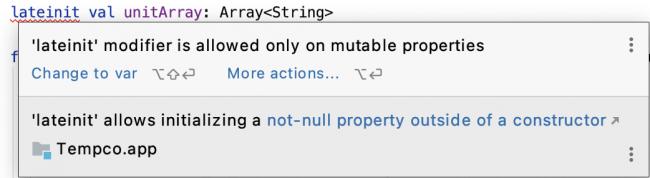 A mutablity error shown in Android Studio.