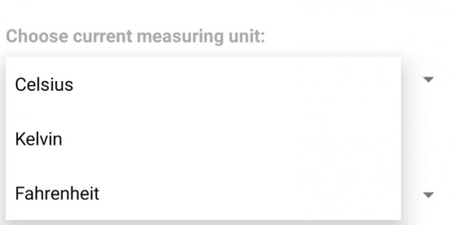 Populated measurment unit dropdowns.