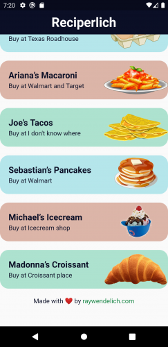 Recipe List with Footer