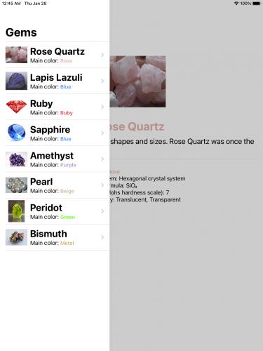 A list of gems on an iPad