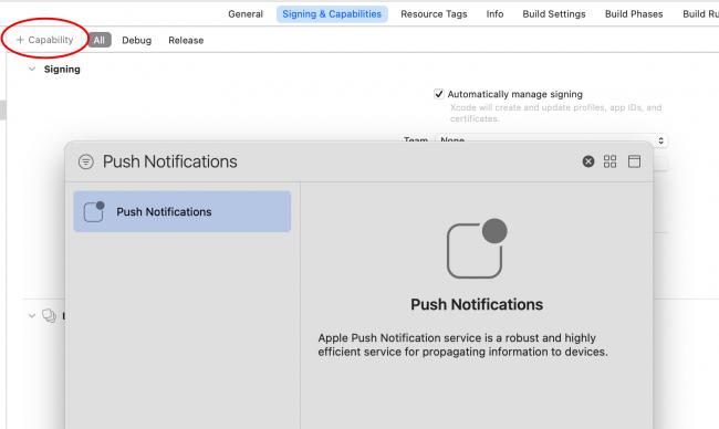 Add push notification capability