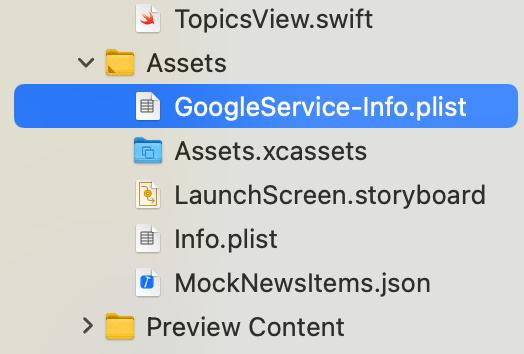 Add GoogleService-Info plist to project