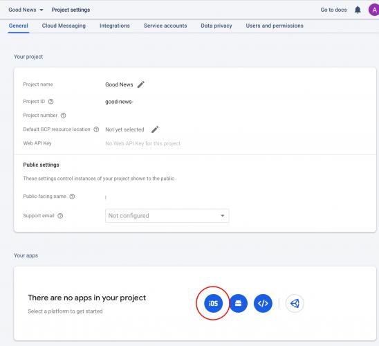 Select the iOS project setup