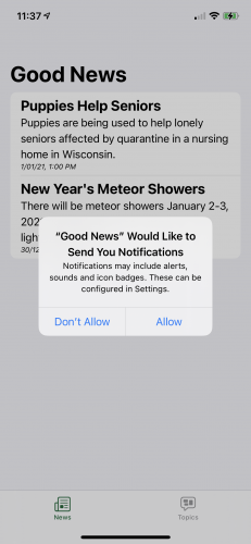 Screenshot of Good News app showing 'Good News would like to send you notifications' dialog