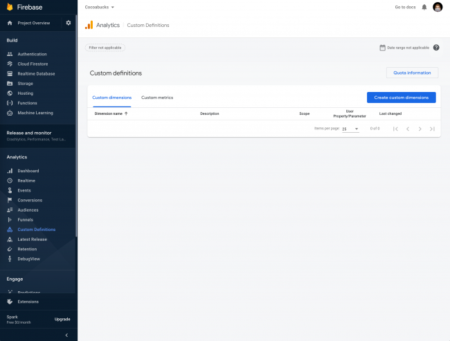 Firebase Console showing Custom Definitions window