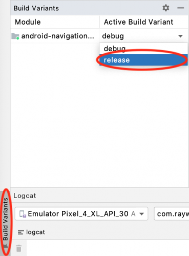 Using android studio build variants menu to select the release instead of build.