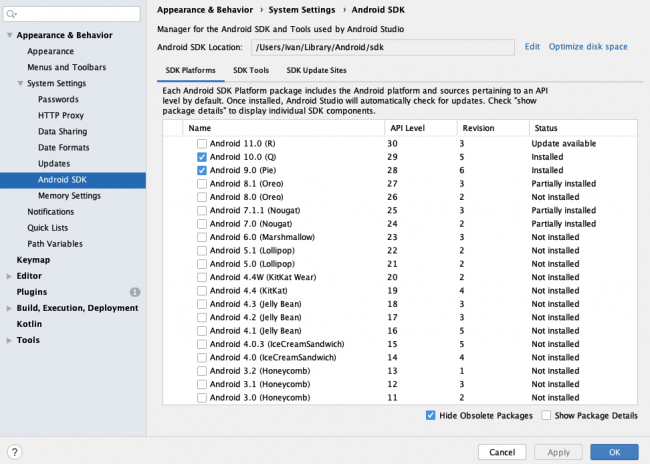 SDK manager window showing updates and their installation status