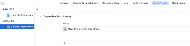 Algorithms added to the target dependencies list.