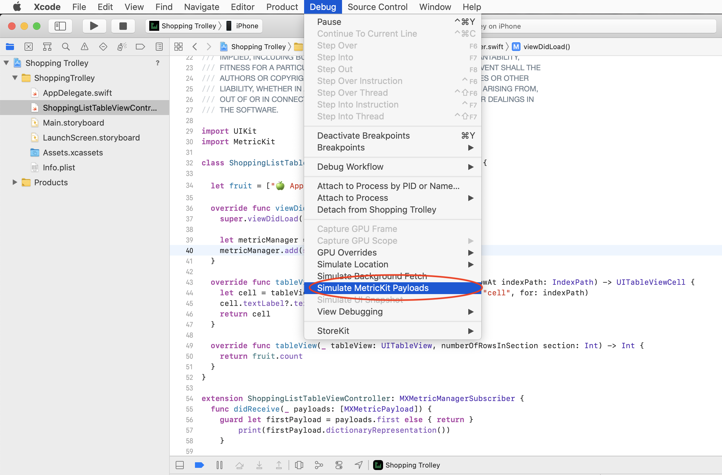 selecting Simulate MetricKit Payloads in Xcode