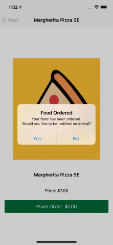 An alert showing you placed an order