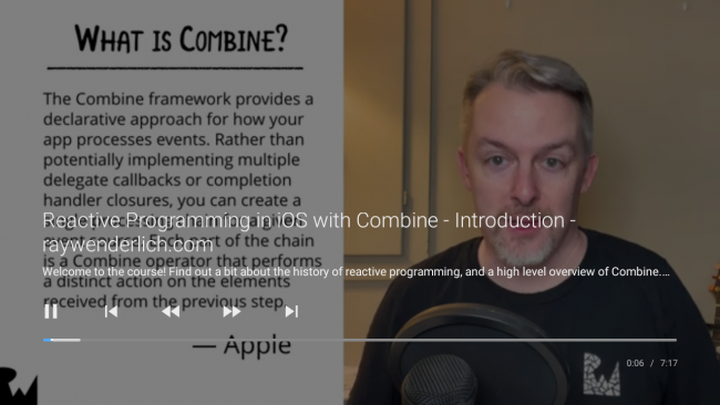 App video playback screen showing a man speaking into a microphone and a description from Apple of what Combine does