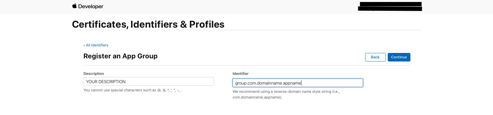App Group Configuration step 2