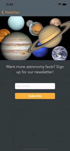 App newsletter screen