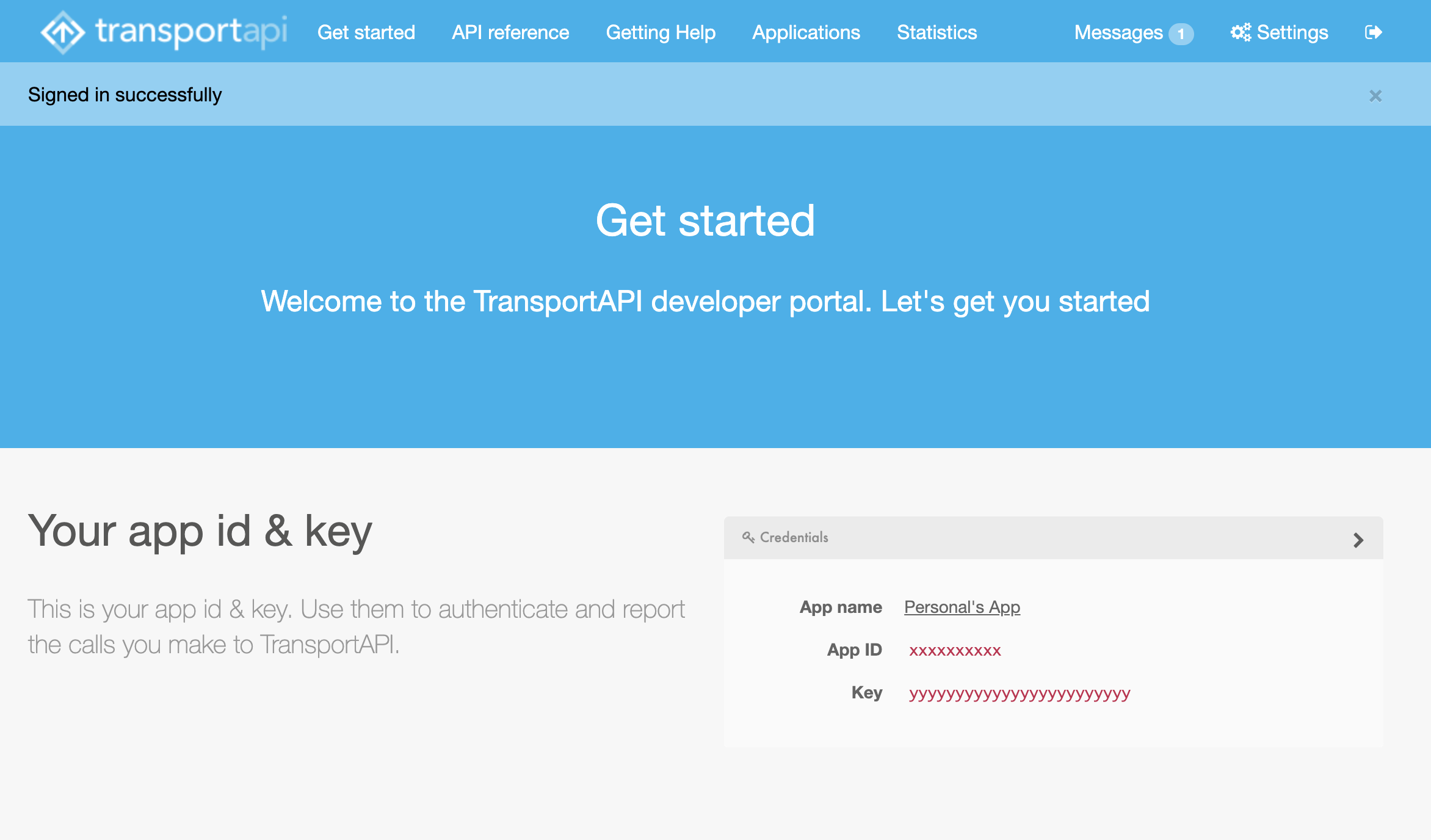 The TransportAPI Developer Landing Page