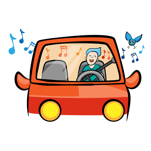 Blue-haired person in the driver seat of a car, singing, while a bird flies outside