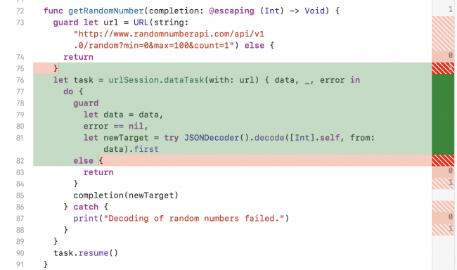 iOS Unit Testing: Coverage Highlights in Code Editor