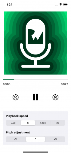 A progress bar updated to the current playback time.