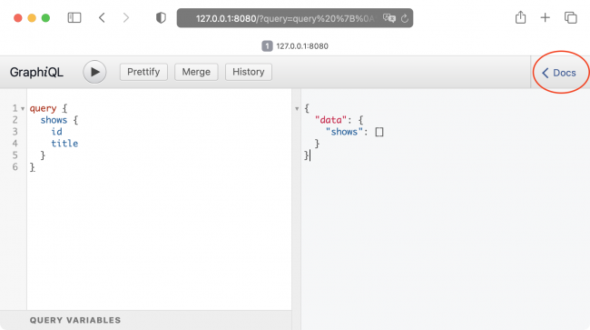 The GraphiQL client page with no results in an empty database for the shows query