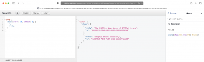 The GraphiQL client with results of a query with pagination