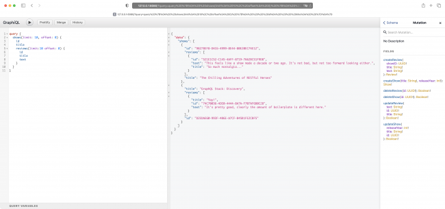 The GraphiQL client with results of the shows query with relationships traversed