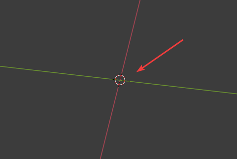 The 3D cursor with a arrow pointing to it