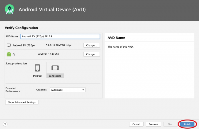AVD manager 'Verify Configuration' screen