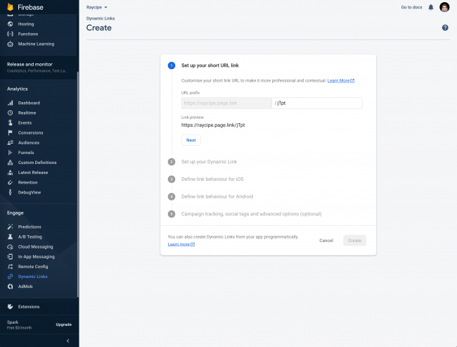 How to add dynamic link using Firebase Console