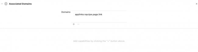 Add your custom domain with the prefix of applinks: to associated domains capability in Xcode