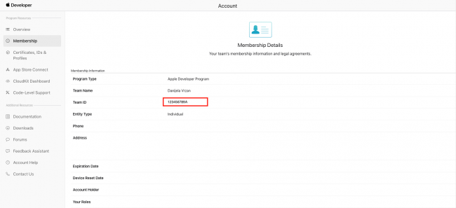 Image showing where to find Team ID in the Apple Developer website under Membership Information