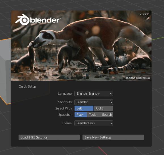 Blender's splash screen with user options below it