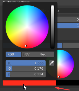 A color picker with a bright red selected