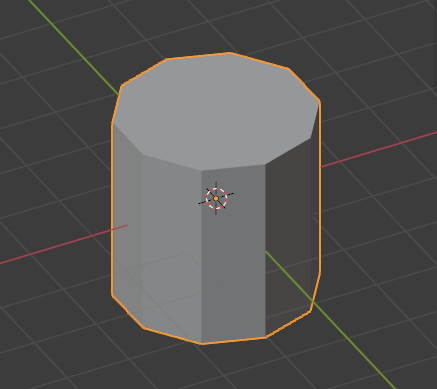 The cylinder in the middle of the 3D View with an orange outline