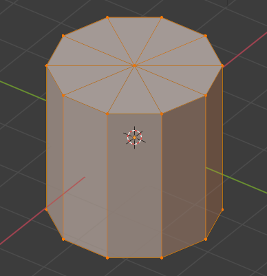 The cylinder with an orange glow and orange dots