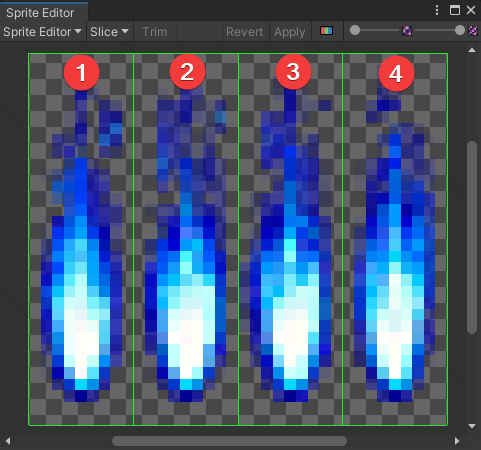 Individual frames in the sliced sprite