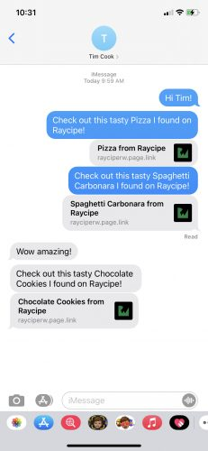 Screenshot of an iPhone XR showing how the dynamic link looks like when you share it in Messages or when you receive it from someone