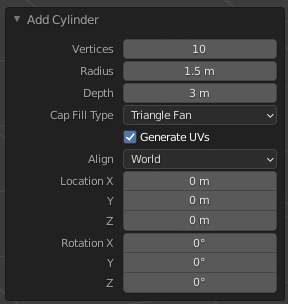 A menu showing all of the options after adding a new cylinder