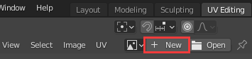 The New Image button at the top of the UV Editor