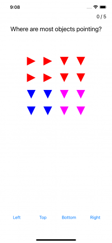 Triangles of various colors pointing in different directions