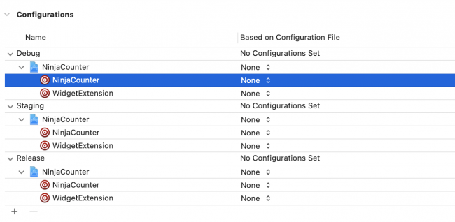 Build configurations in project editor showing the new widget target