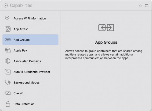 Adding App Group capability