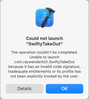 Screenshot Xcode could not launch app