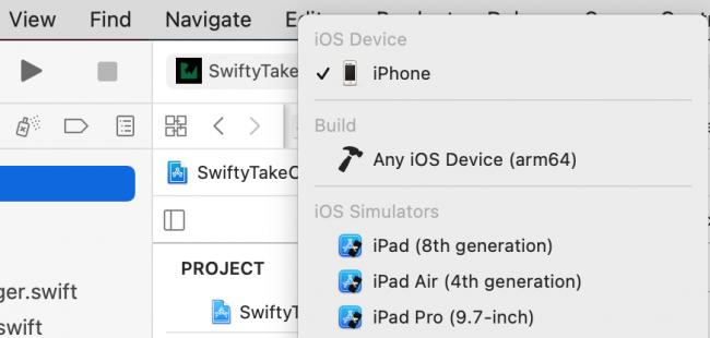 Screenshot Xcode active scheme
