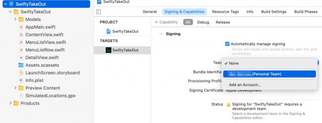 Screenshot Xcode Developer Team