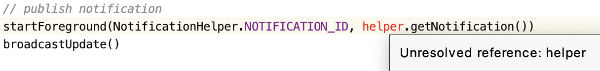 Error: Unresolved reference for the notification helper class