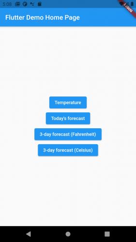 WeatherFFI app main screen.