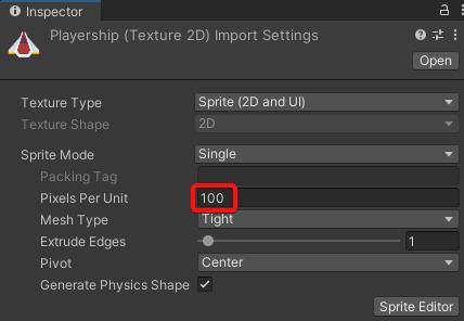 player ship sprite pixels per unit
