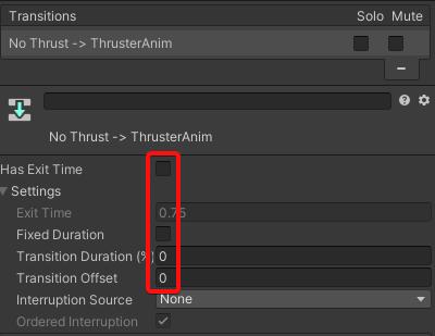 Lander transition settings for thruster