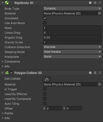 Rigidbody and Collider settings