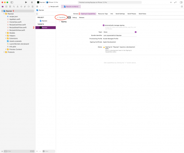 Screenshot of Xcode window on how to find and add capabilities to your project